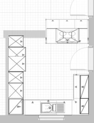 insel in breiter k che abstand von 80 bzw 70 cm. Black Bedroom Furniture Sets. Home Design Ideas
