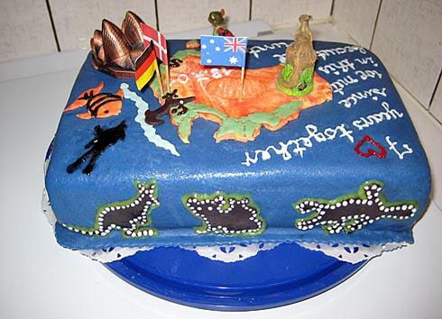 Kuchen mit australien motiv